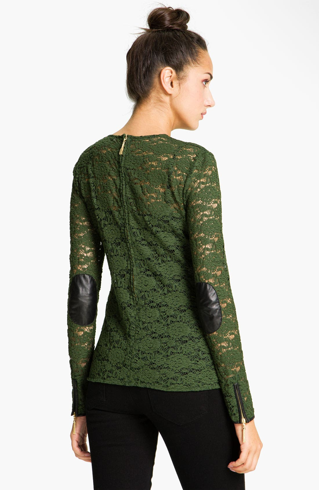 Alternate Image 2  - Juicy Couture Leather Trim Lace Tee