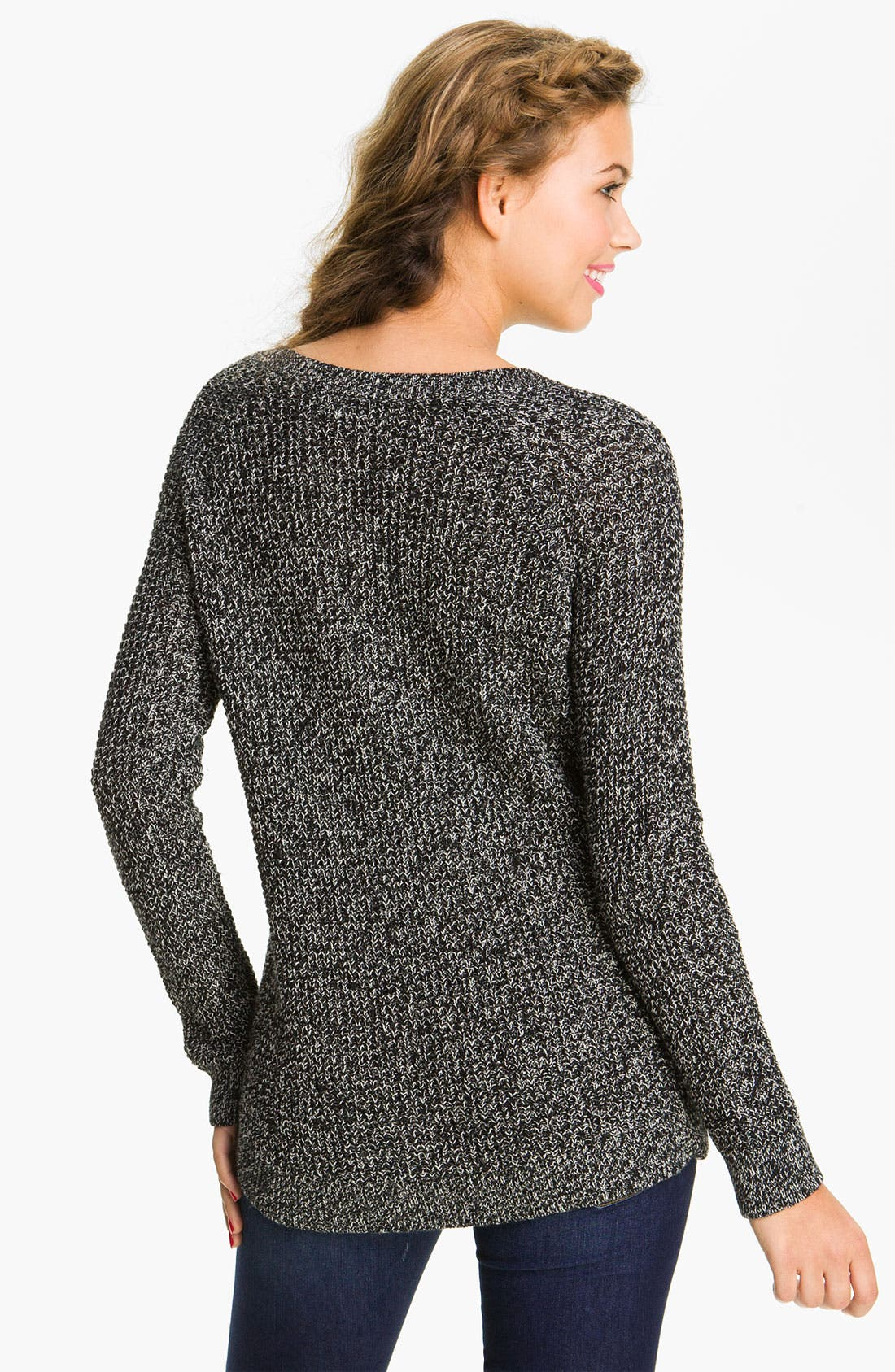 Alternate Image 2  - Rubbish® Waffle Knit Sweater (Juniors)