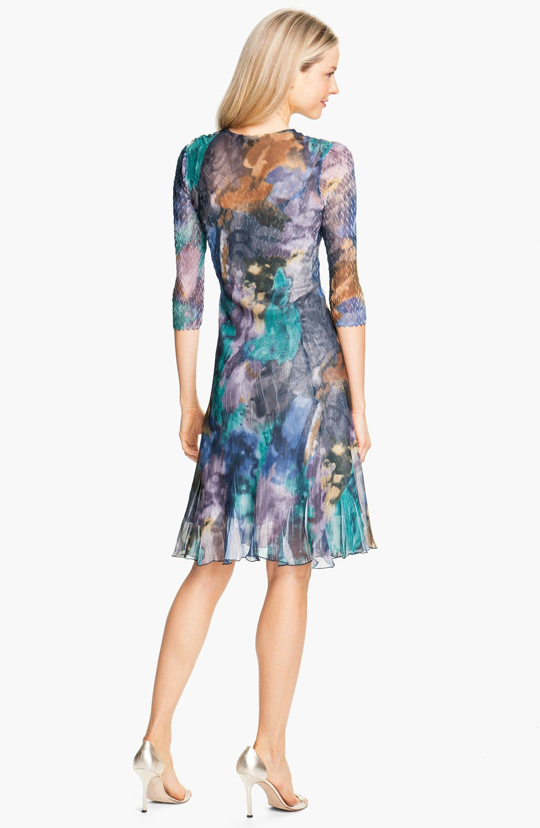 Alternate Image 2  - Komarov Print Elbow Sleeve Chiffon Dress