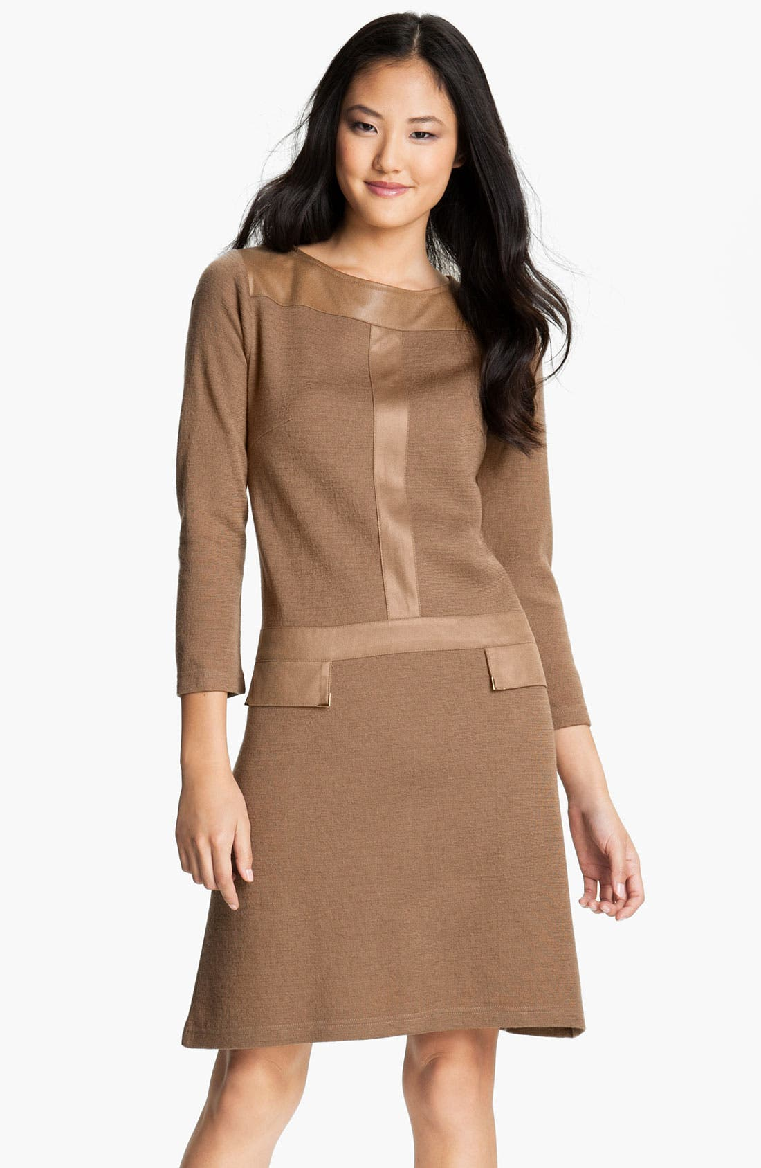 Main Image - Tahari Faux Leather Trim A-Line Sweater Dress