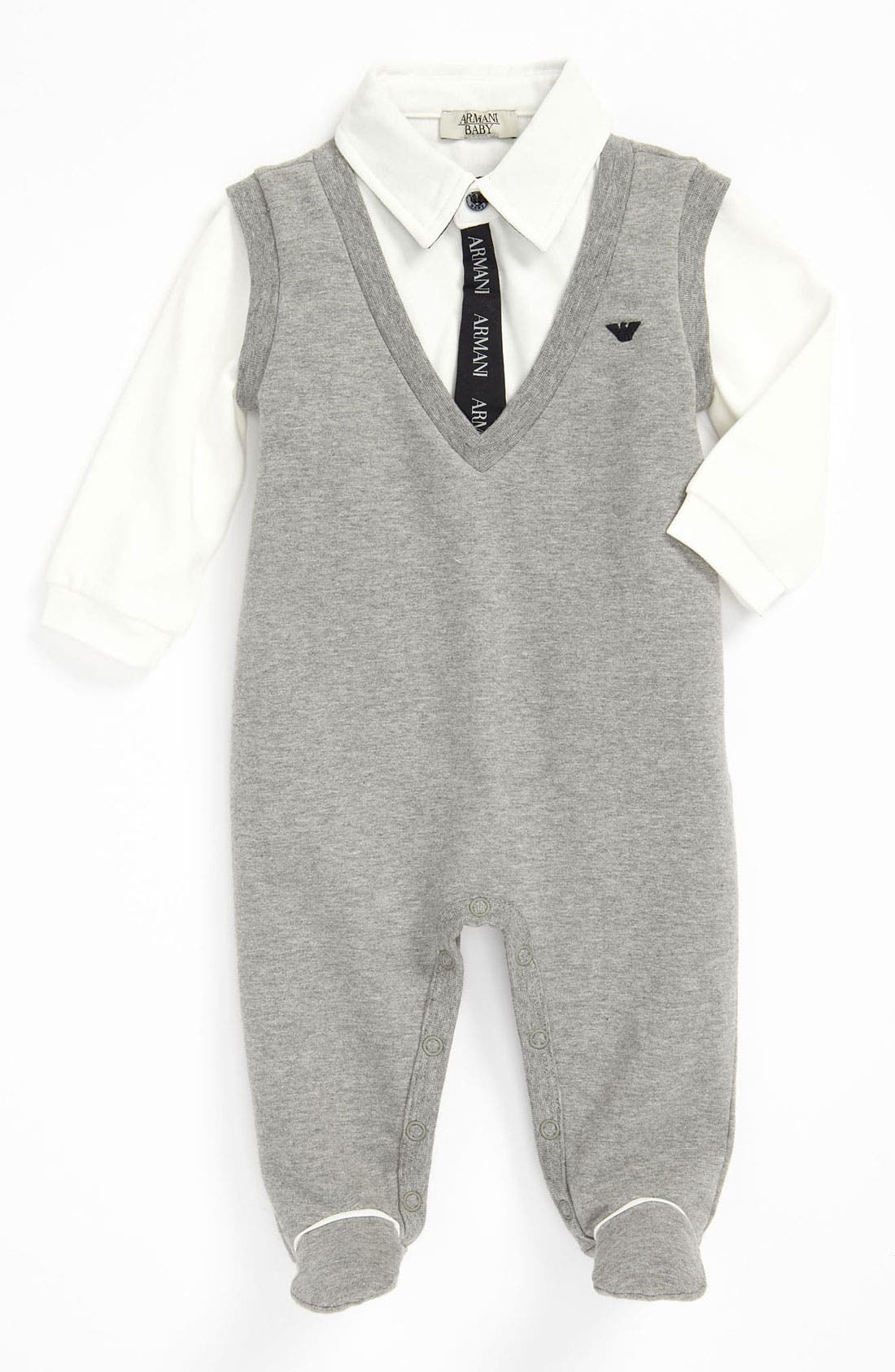 Main Image - Armani Junior Jersey Footie (Infant)