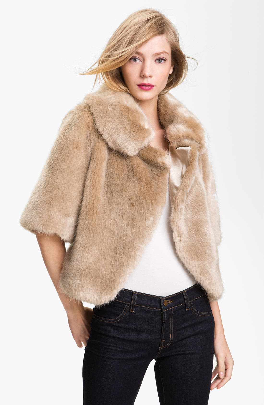 Main Image - Ted Baker London Crop Faux Fur Jacket