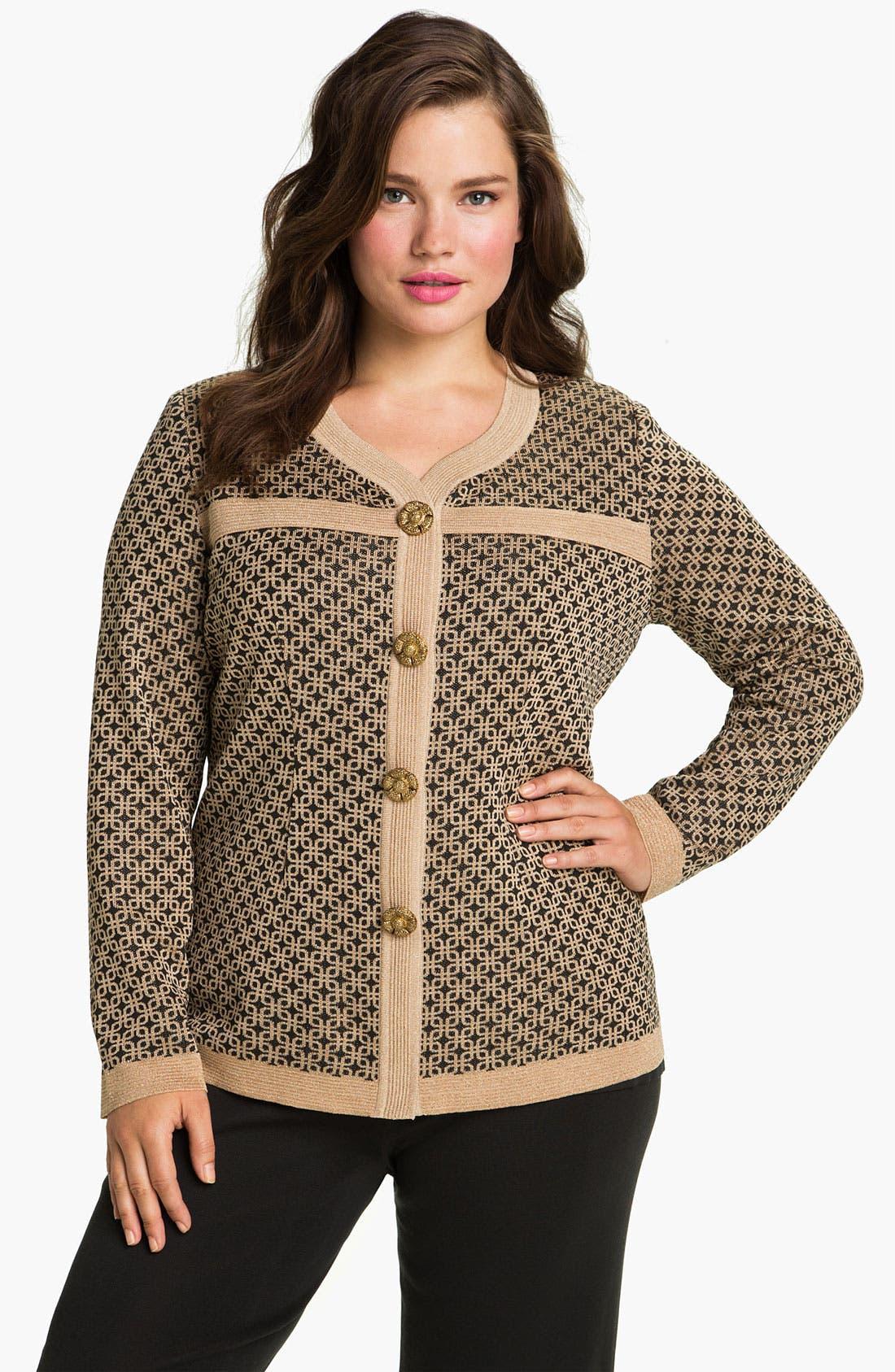 Alternate Image 1 Selected - Exclusively Misook Tweed Knit Jacket (Plus)