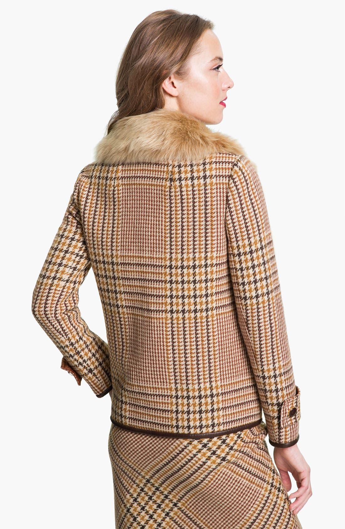 Alternate Image 2  - Tory Burch 'Jasmine' Genuine Lamb Fur Collar Coat (Online Exclusive)
