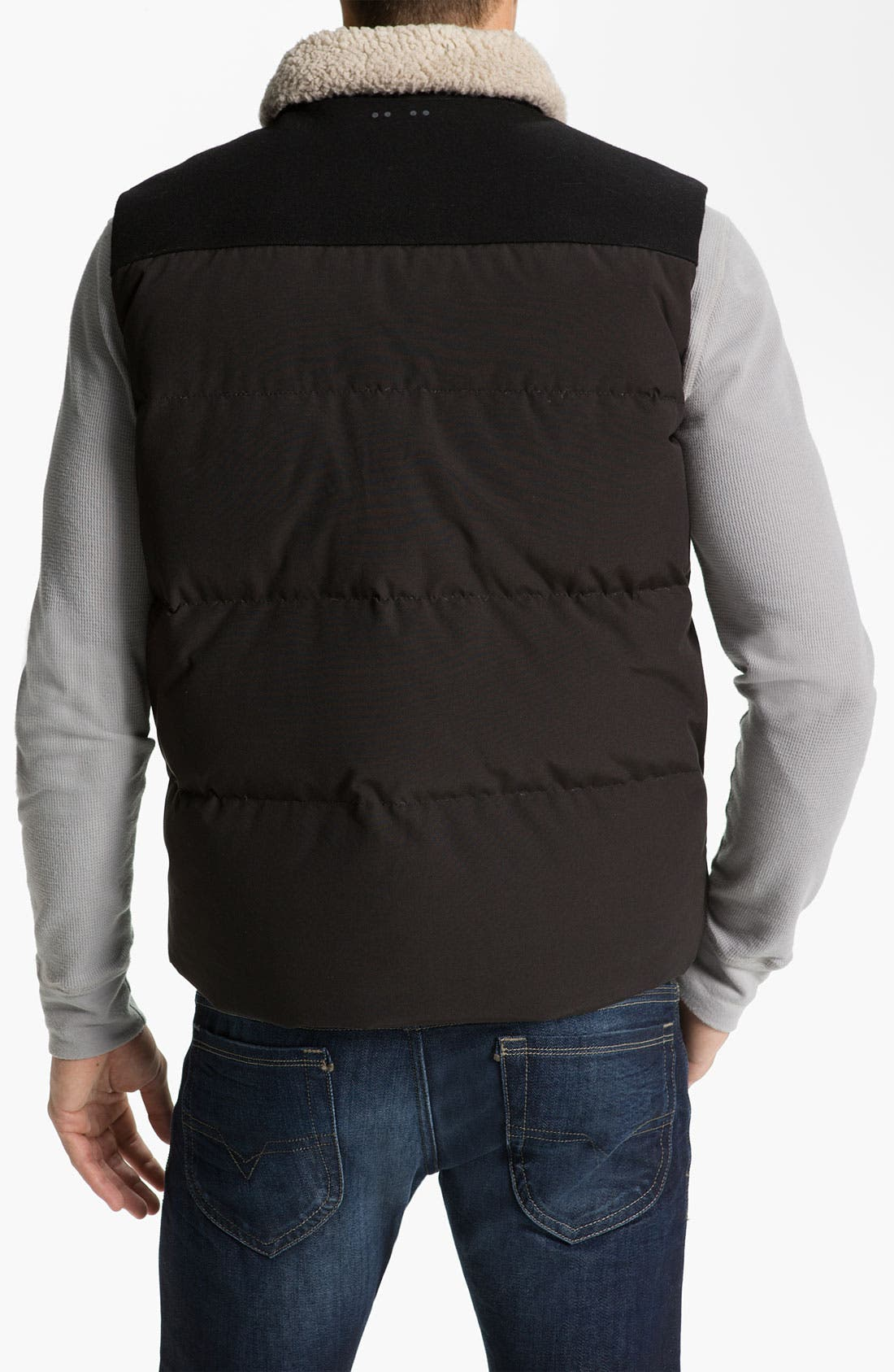 Alternate Image 2  - J.C. Rags Quilted Puffer Vest with Faux Shearling Trim