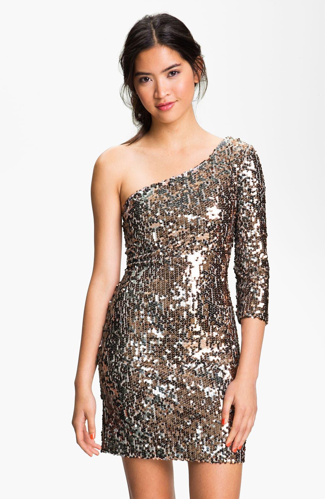 Main Image - As U Wish One Shoulder Sequin Dress (Juniors)