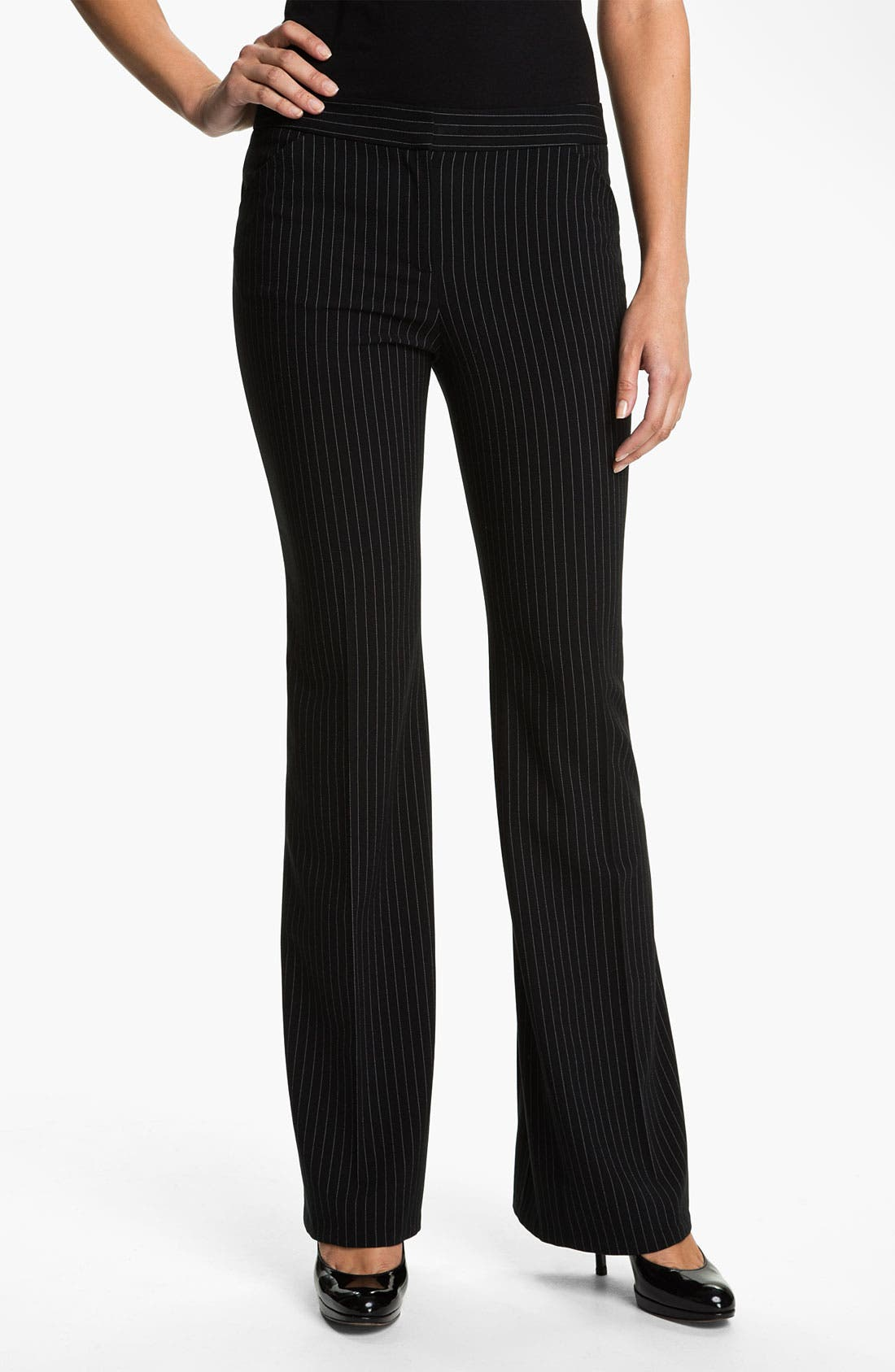 Alternate Image 1 Selected - Anne Klein Pinstripe Wide Leg Pants (Petite)
