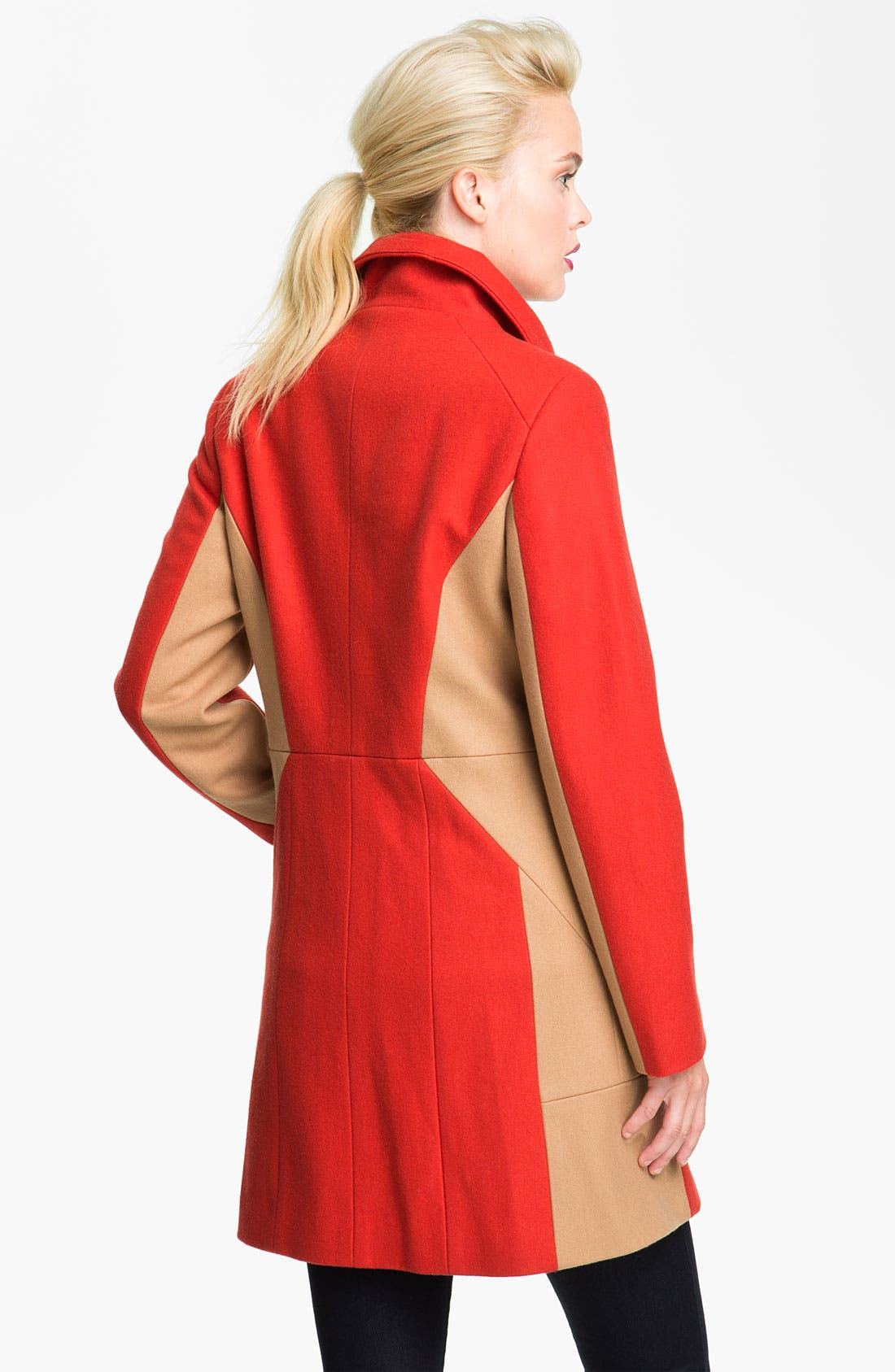 Alternate Image 2  - Calvin Klein Two Tone Asymmetrical Walking Coat