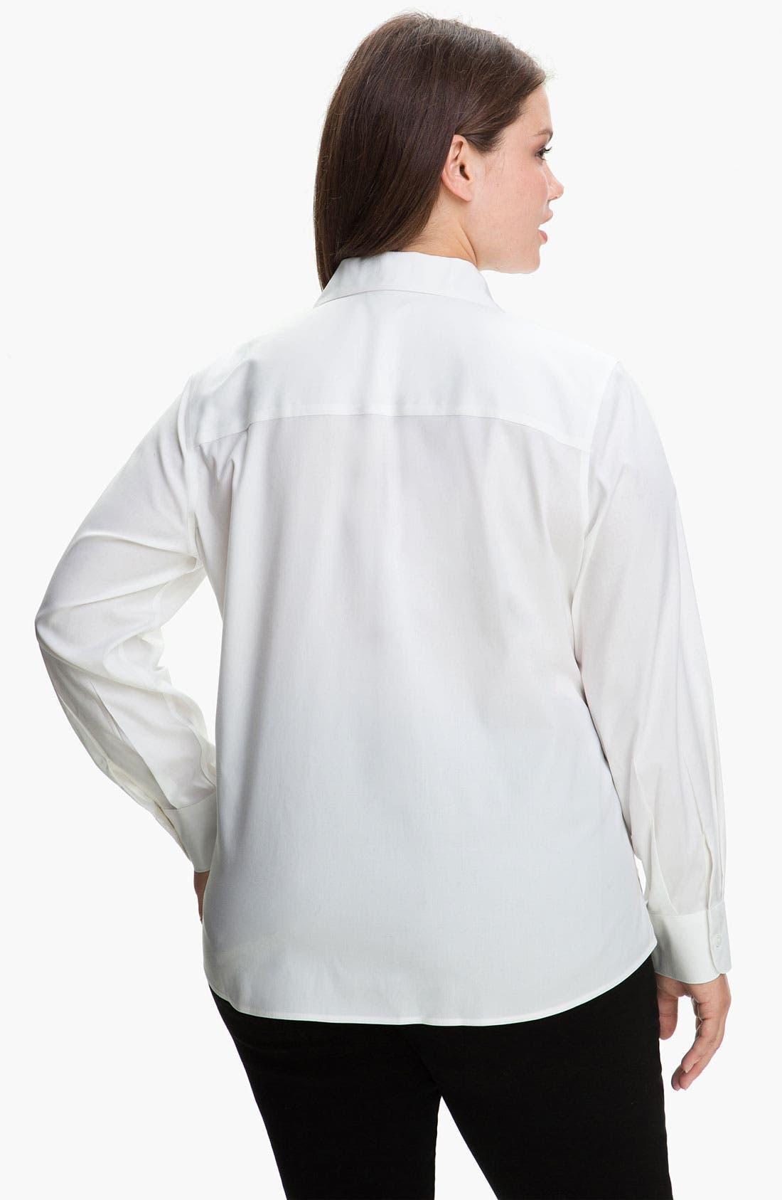 Alternate Image 2  - Foxcroft Wing Collar Shaped Shirt (Plus)