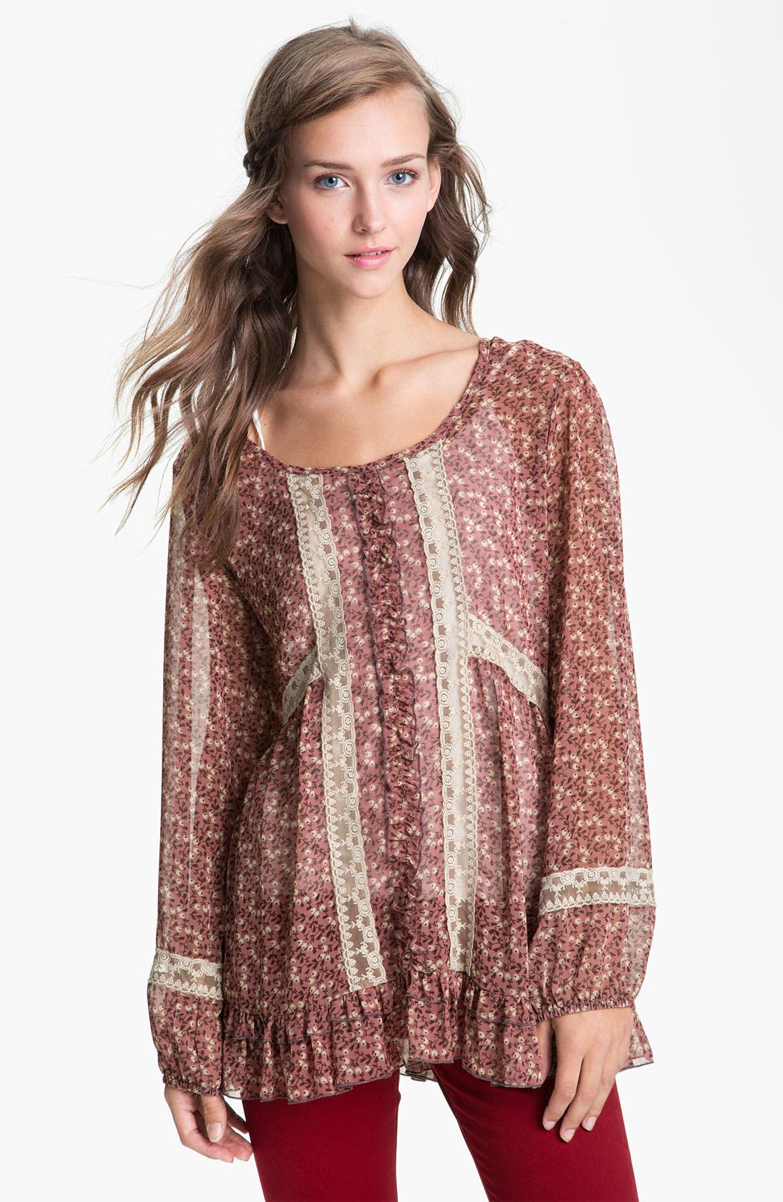Main Image - Lily White Print Chiffon & Lace Tunic (Juniors)
