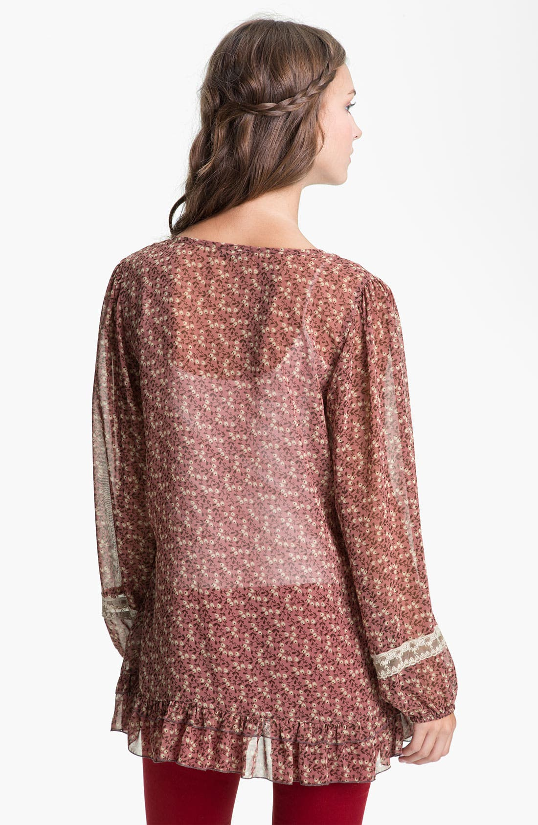 Alternate Image 2  - Lily White Print Chiffon & Lace Tunic (Juniors)