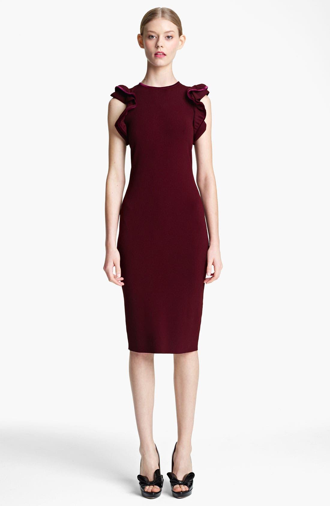 Alternate Image 1 Selected - Valentino Ruffle & Velvet Detail Knit Dress