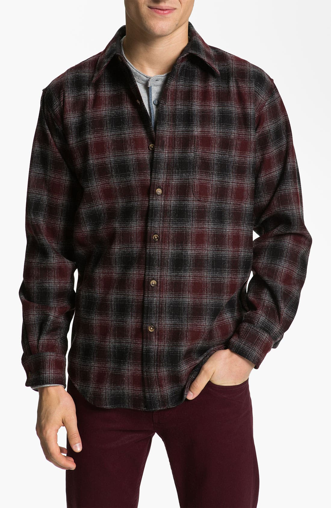 Main Image - Pendleton 'Lodge' Fitted Plaid Wool Flannel Shirt