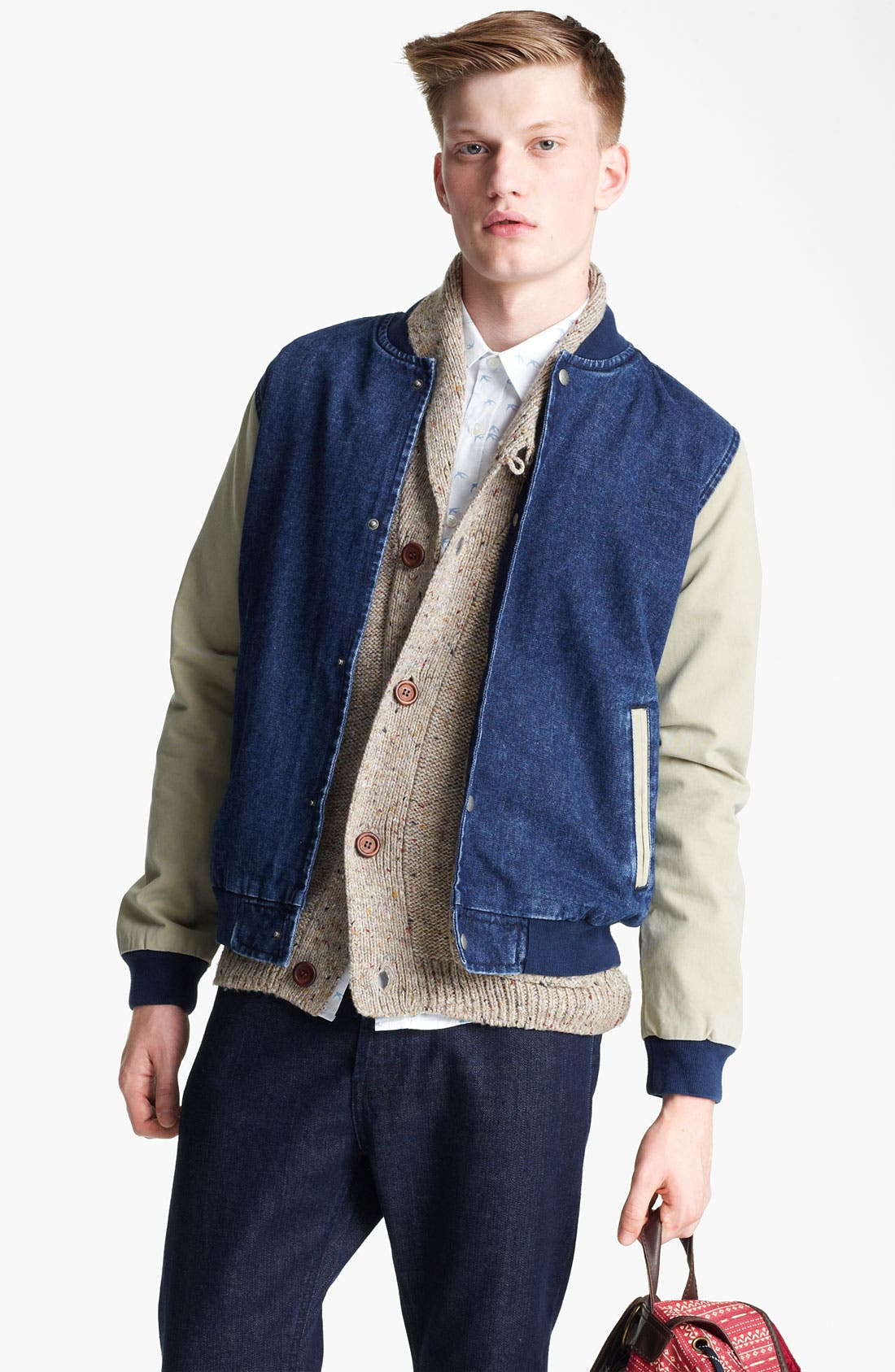 Main Image - Topman 'Bepping' Denim Baseball Jacket