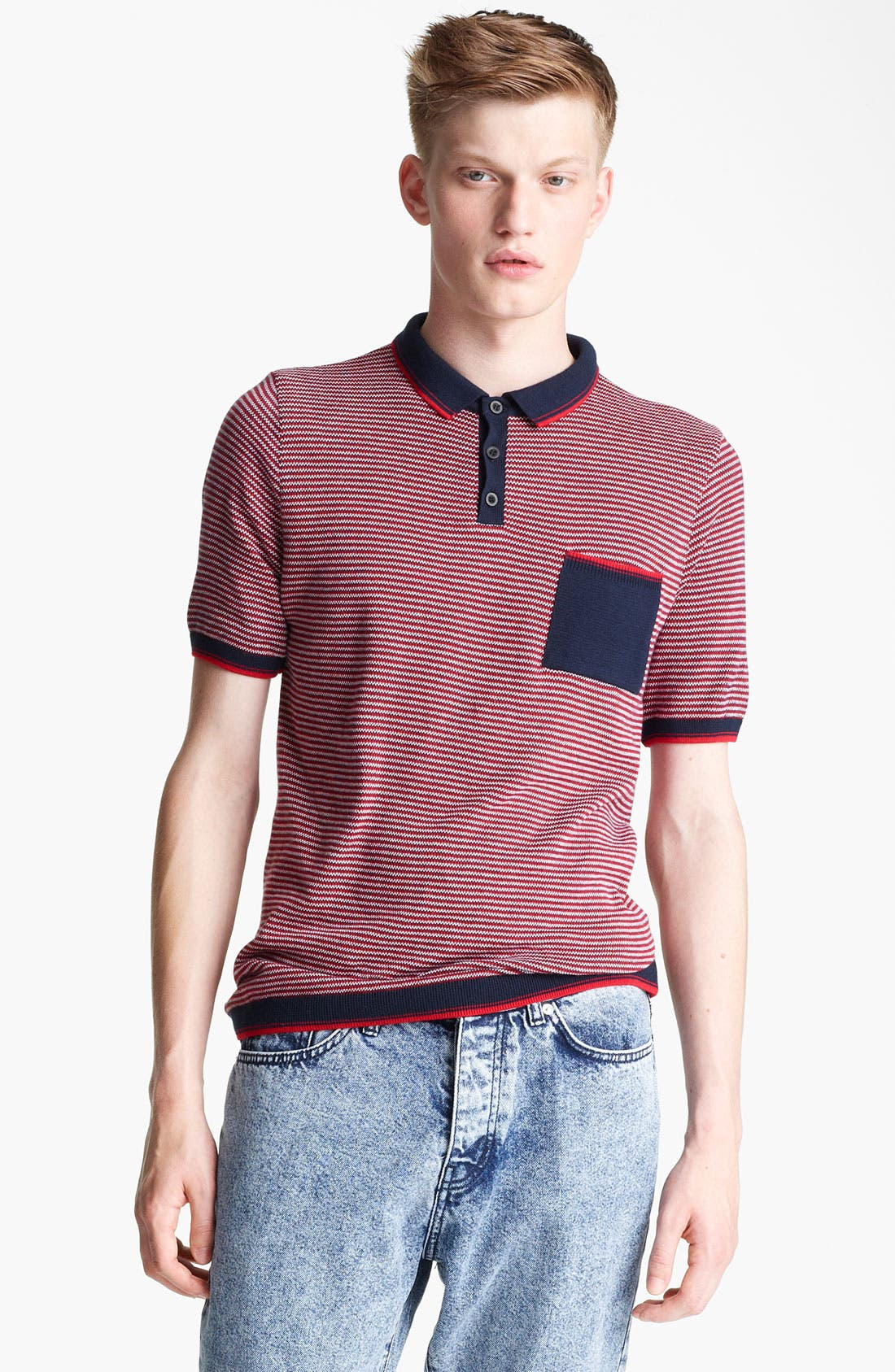 Alternate Image 1 Selected - Topman Stripe Knit Polo