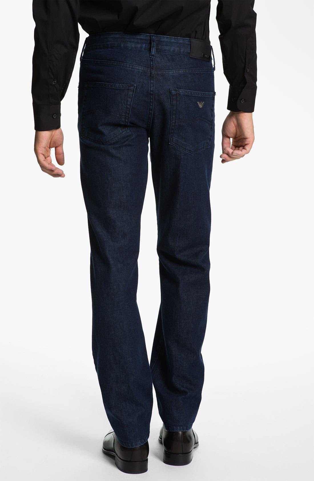 Alternate Image 2  - Armani Collezioni Straight Leg Jeans (Navy Wash)