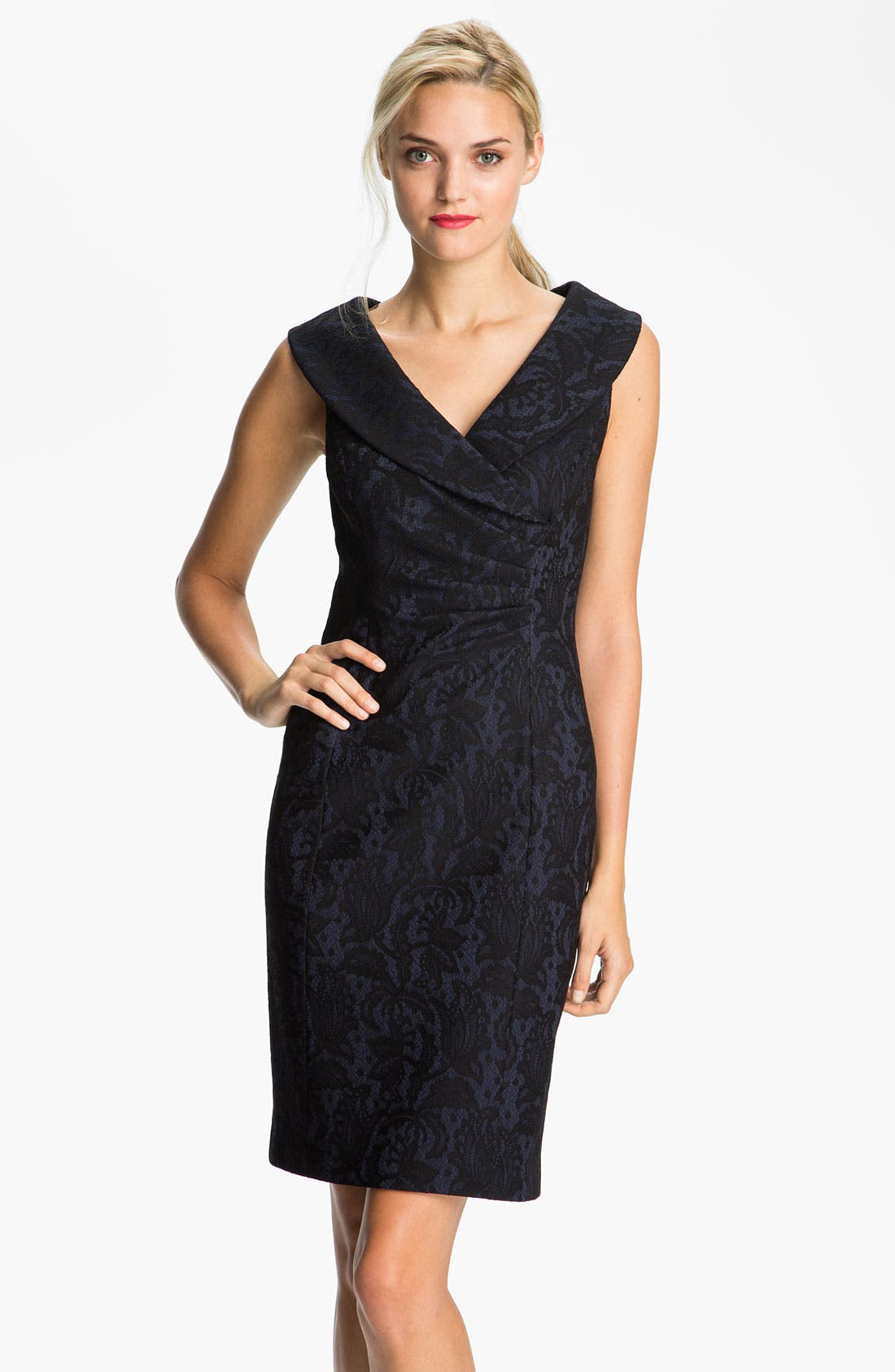 Main Image - Kay Unger Portrait Collar Lace & Jersey Sheath Dress