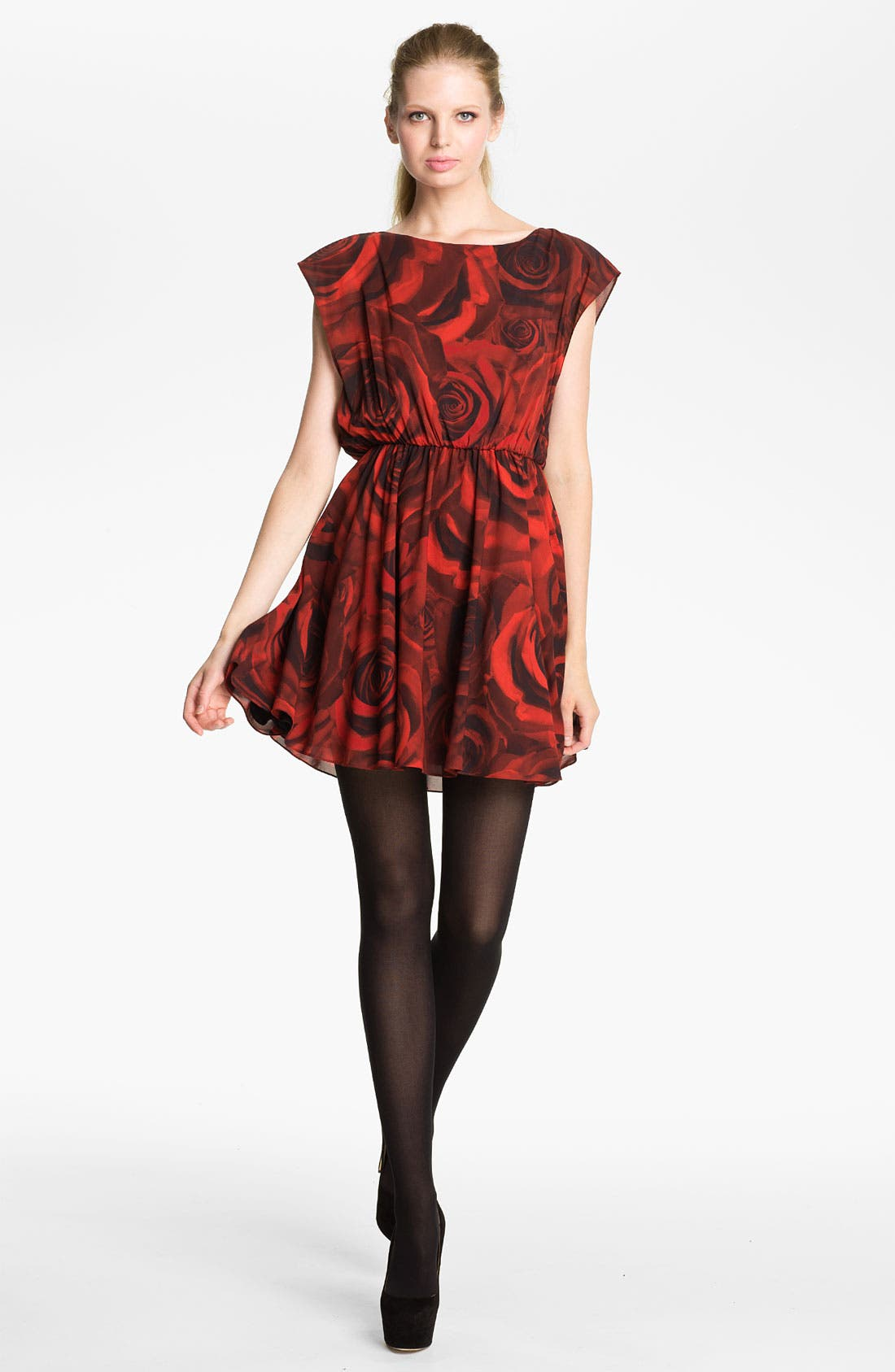 Alternate Image 1 Selected - Alice + Olivia 'Corwin' Rose Print Blouson Dress