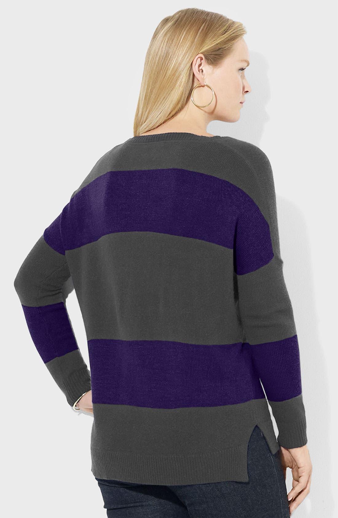 Alternate Image 2  - Lauren Ralph Lauren Stripe Ballet Neck Sweater (Plus)