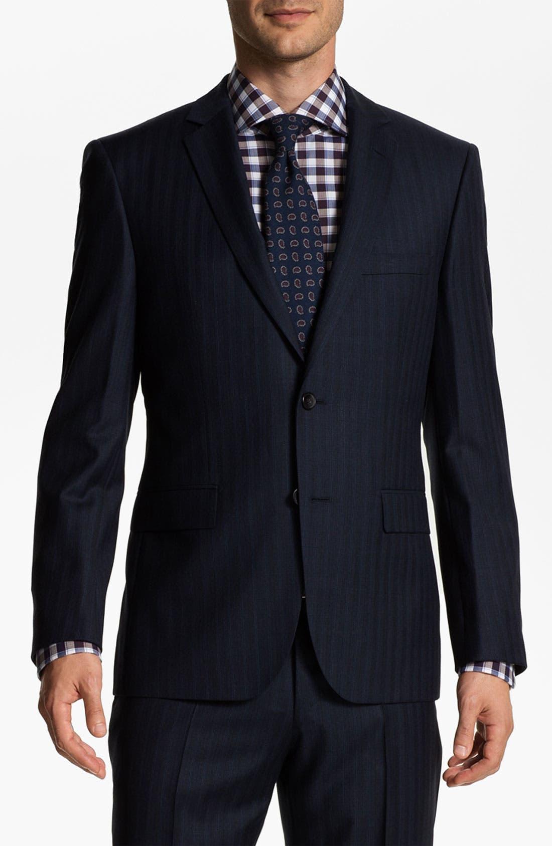 Main Image - BOSS Selection 'Howard/Court' Trim Fit Herringbone Suit