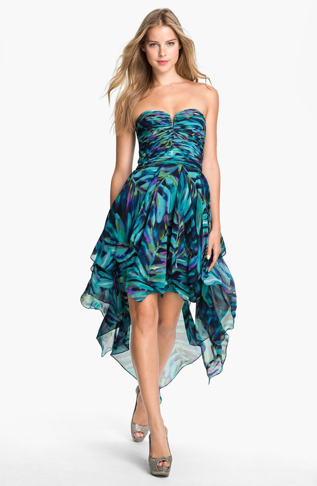 Main Image - Hailey by Adrianna Papell Print Strapless High/Low Chiffon Dress