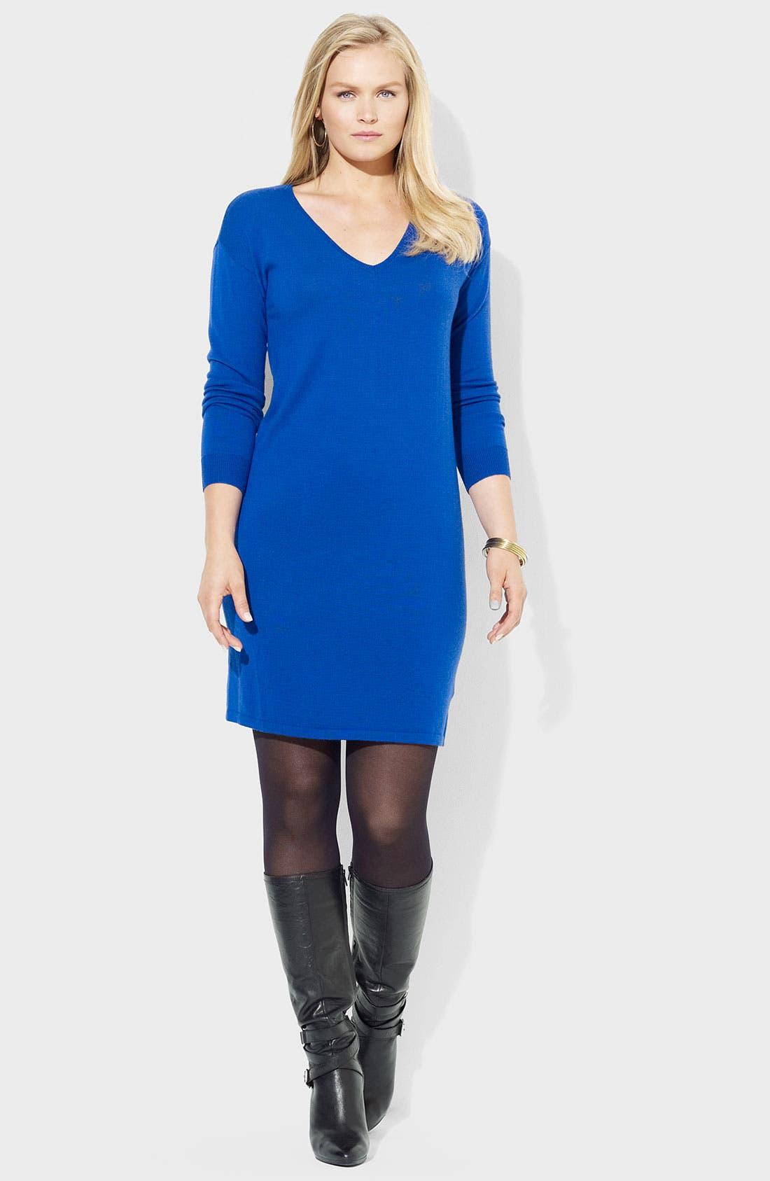 Main Image - Lauren Ralph Lauren V-Neck Merino Wool Sweater Dress (Plus)