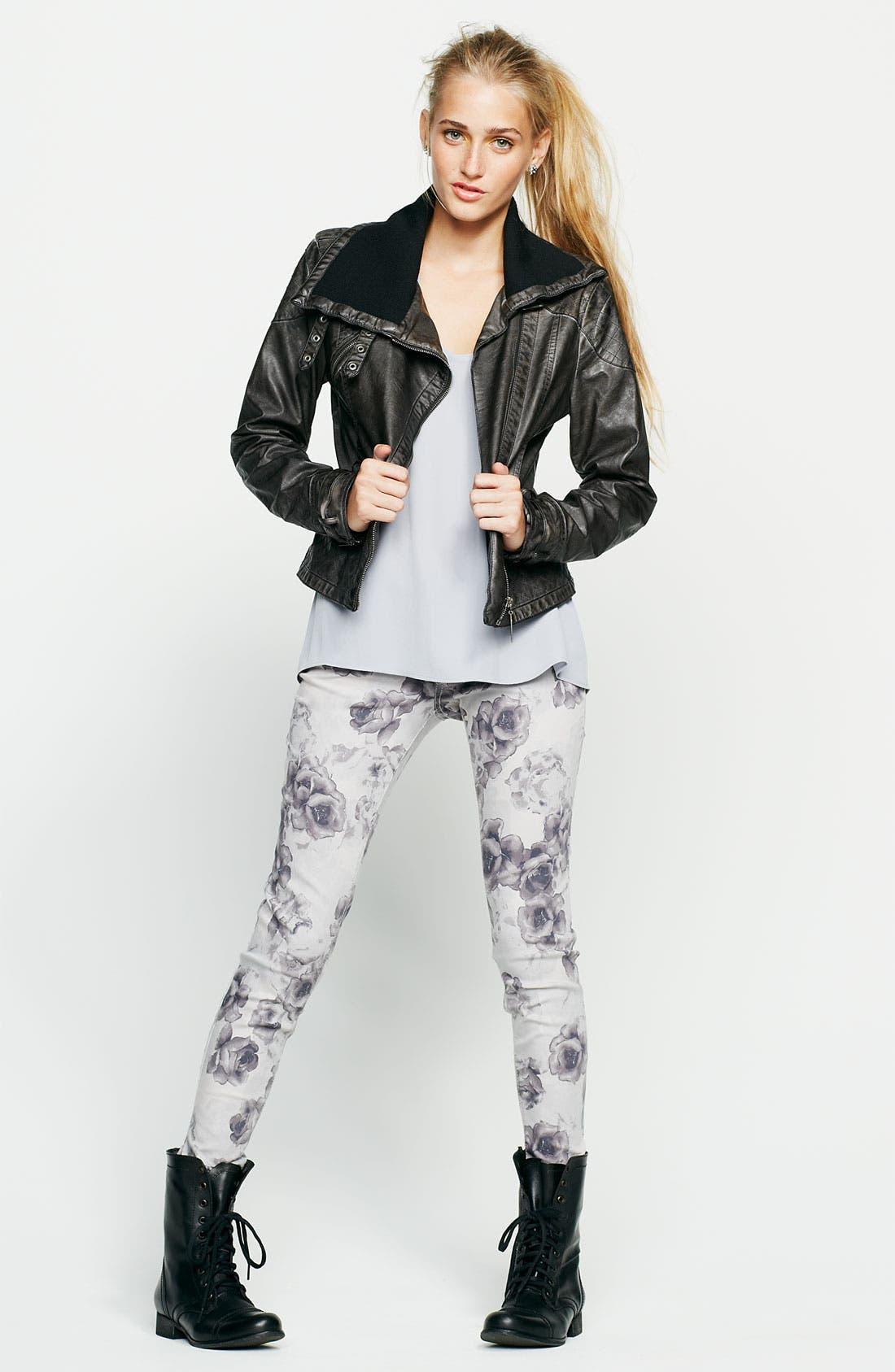 Alternate Image 4  - Jou Jou Knit Collar Moto Jacket (Juniors)