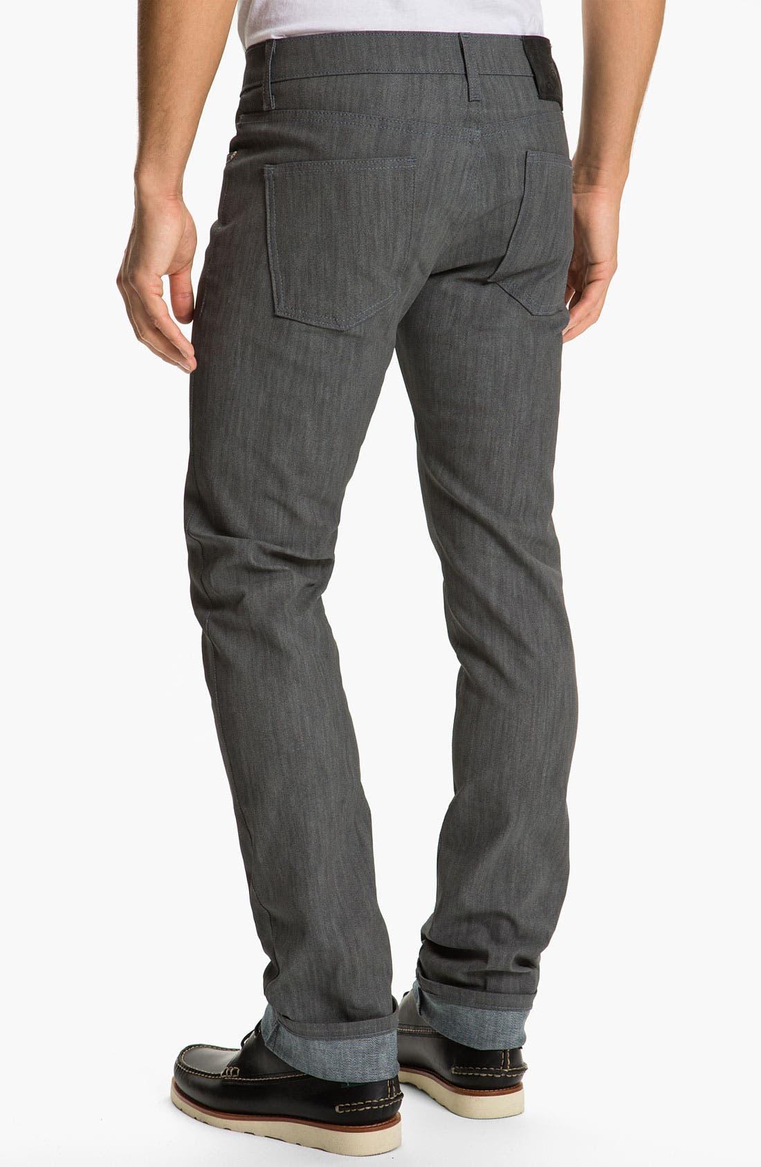 Alternate Image 1 Selected - Naked & Famous Denim 'Skinny Guy' Slim Straight Leg Jeans (Grey Glow In The Dark)