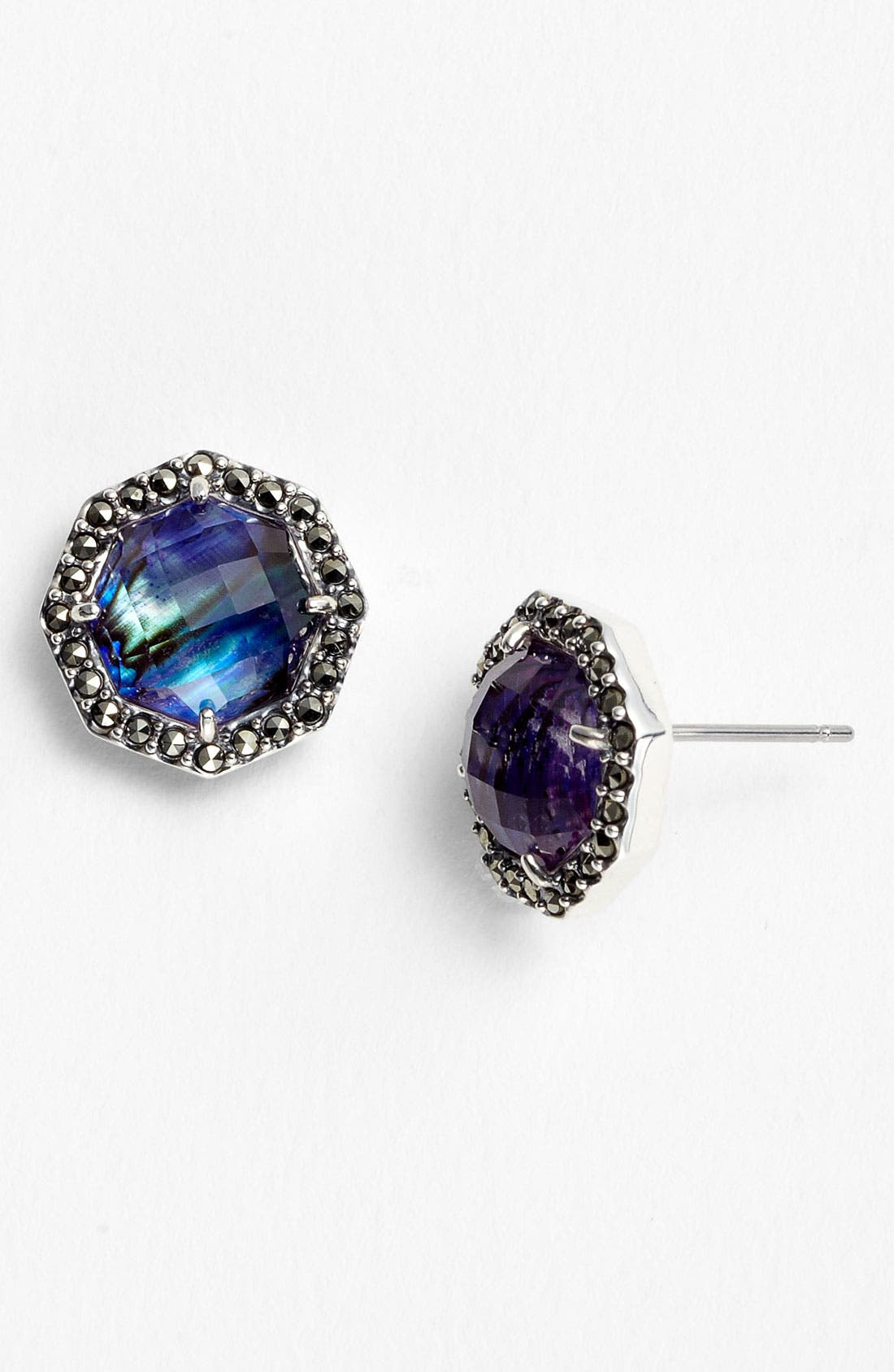 'Purple Maldives' Small Stud Earrings,                             Main thumbnail 1, color,                             Silver/ Purple Abalone