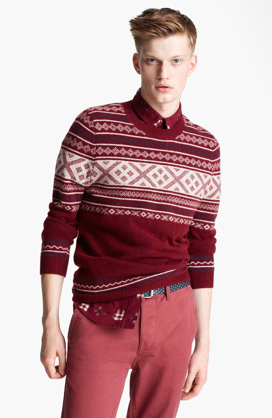 Main Image - Topman 'Cherry Cross' Fair Isle Crewneck Sweater