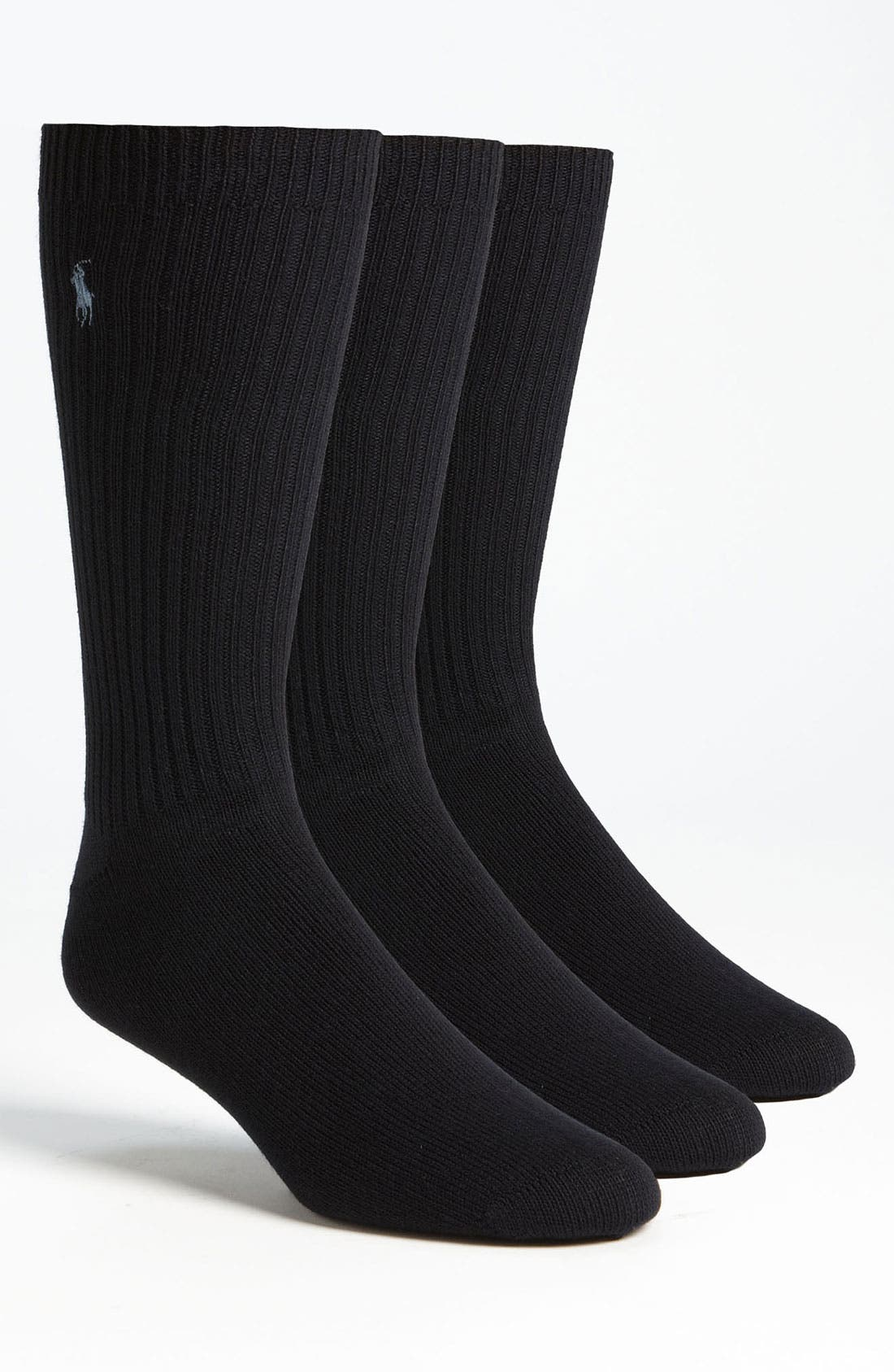 Alternate Image 1 Selected - Polo Ralph Lauren Ribbed Crew Socks (3-Pack)