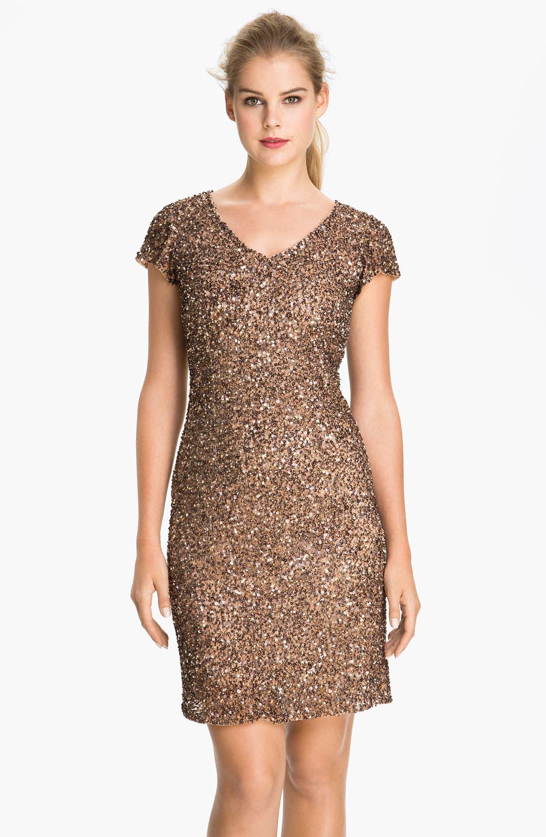 Main Image - Pisarro Nights V-Neck Sequin Mesh Dress
