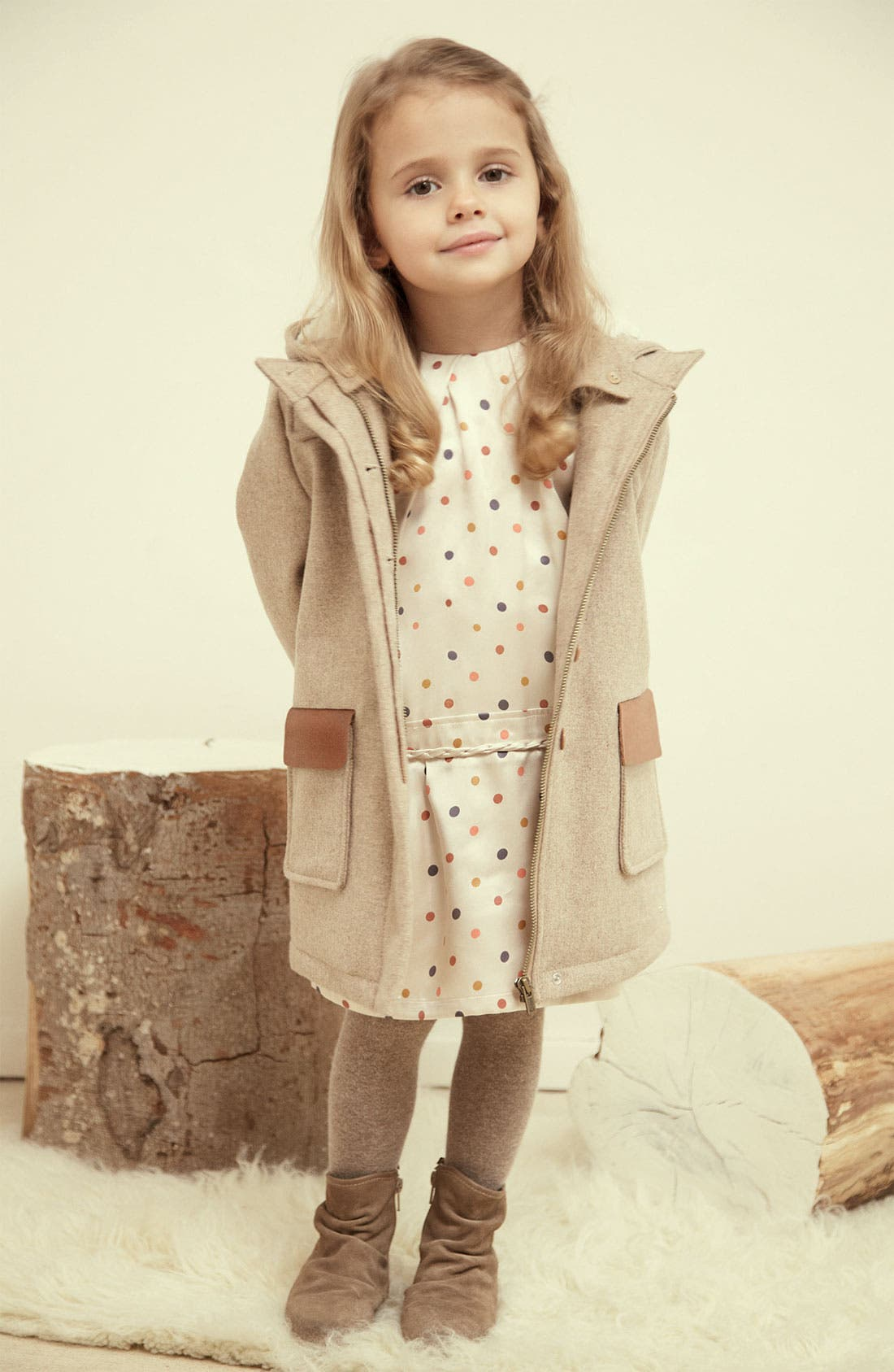 Alternate Image 2  - Chloé Hooded Wool Blend Coat (Little Girls & Big Girls)