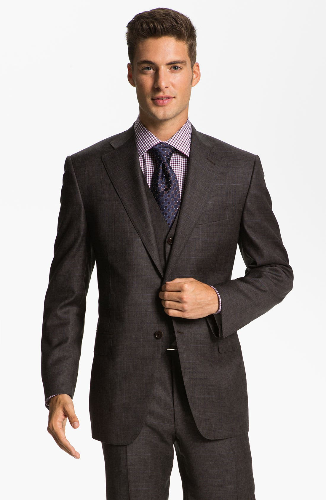 Main Image - Canali Three Piece Wool Suit