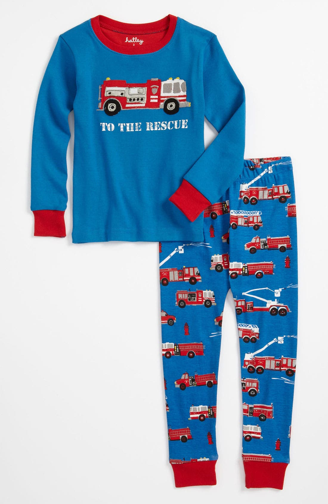 Alternate Image 1 Selected - Hatley 'Fire Trucks to the Rescue' Fitted Two Piece Pajamas (Toddler)
