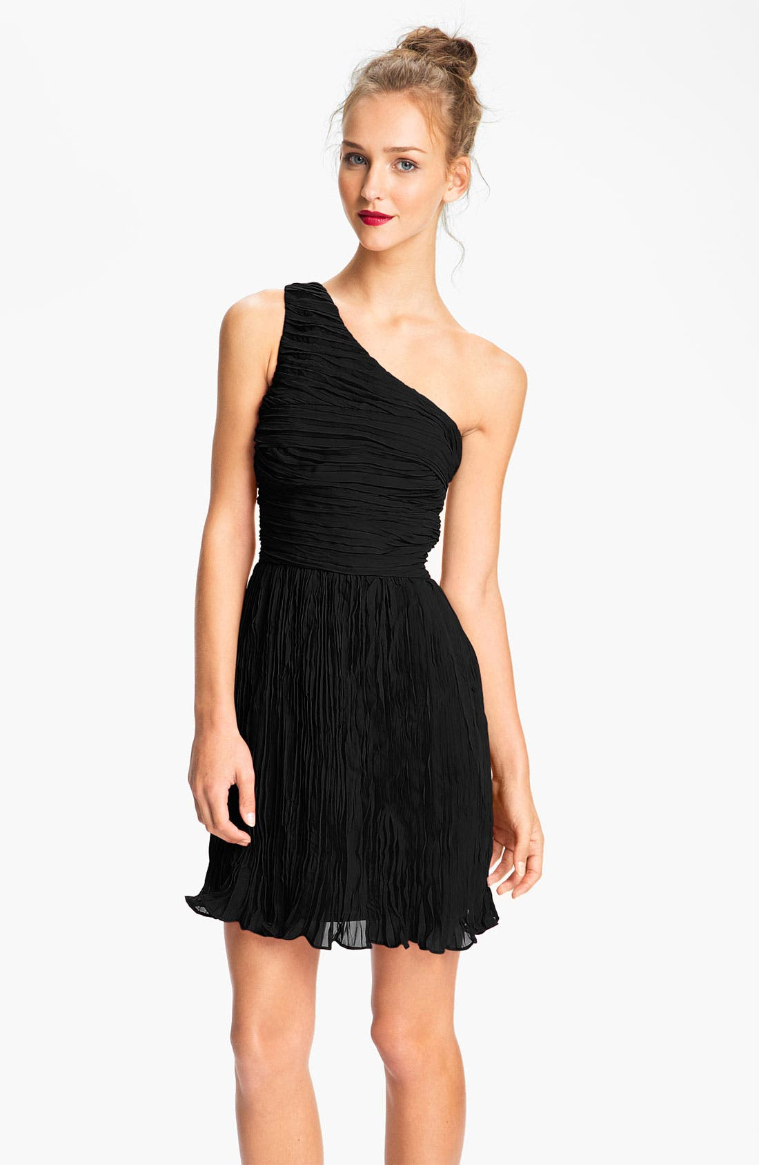 Main Image - BB Dakota One Shoulder Crinkle Chiffon Dress