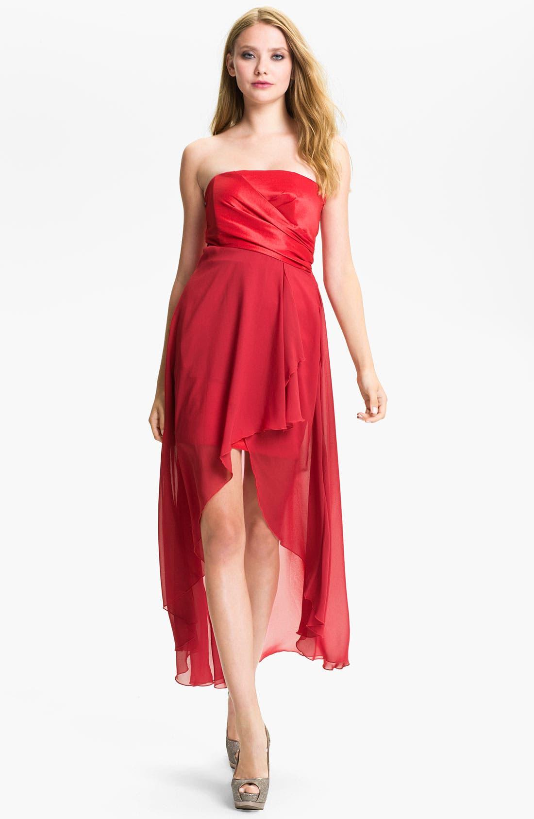 Alternate Image 1 Selected - Jessica McClintock Strapless Taffeta & Chiffon High/Low Dress