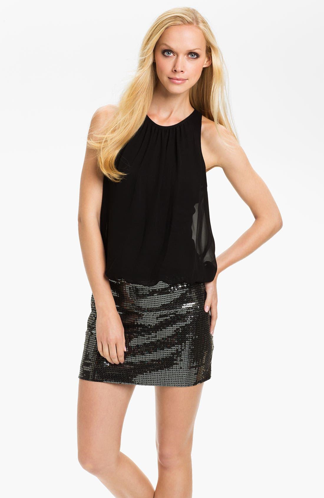 Alternate Image 1 Selected - Aidan Mattox Sequin & Chiffon Blouson Dress