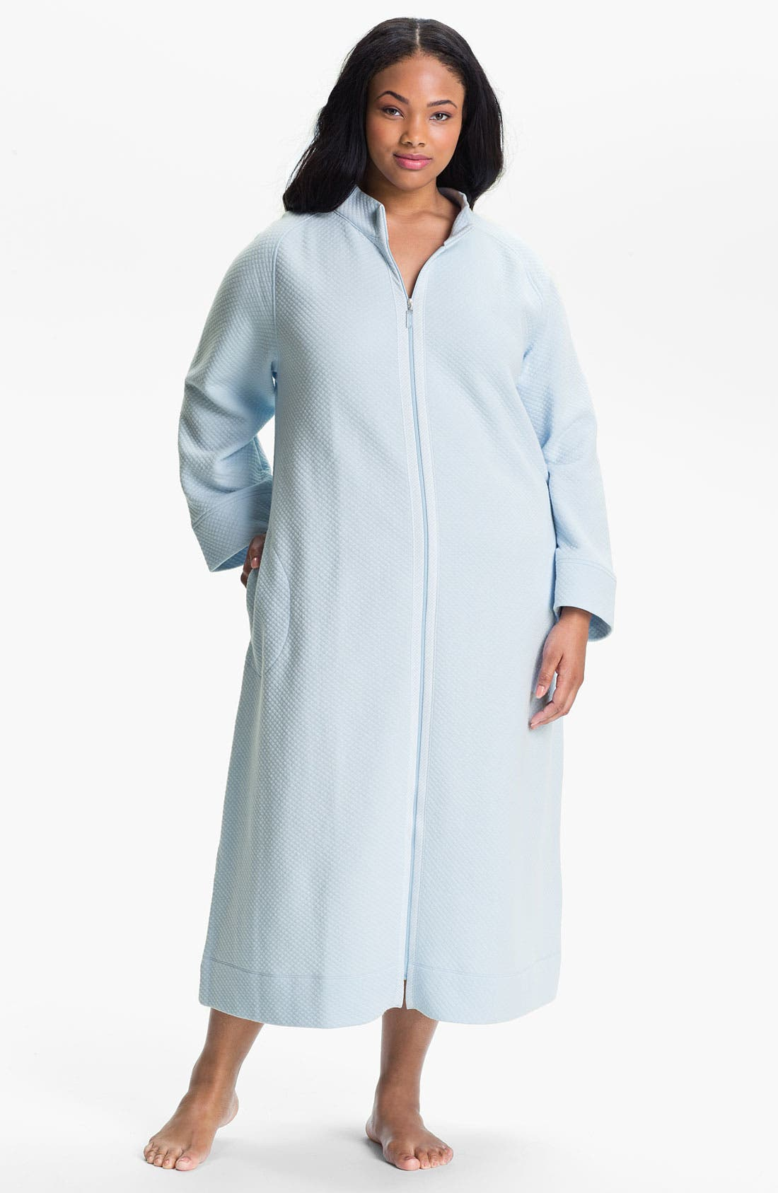 Alternate Image 1 Selected - Carole Hochman Designs Diamond Quilt Zip Front Robe (Plus)