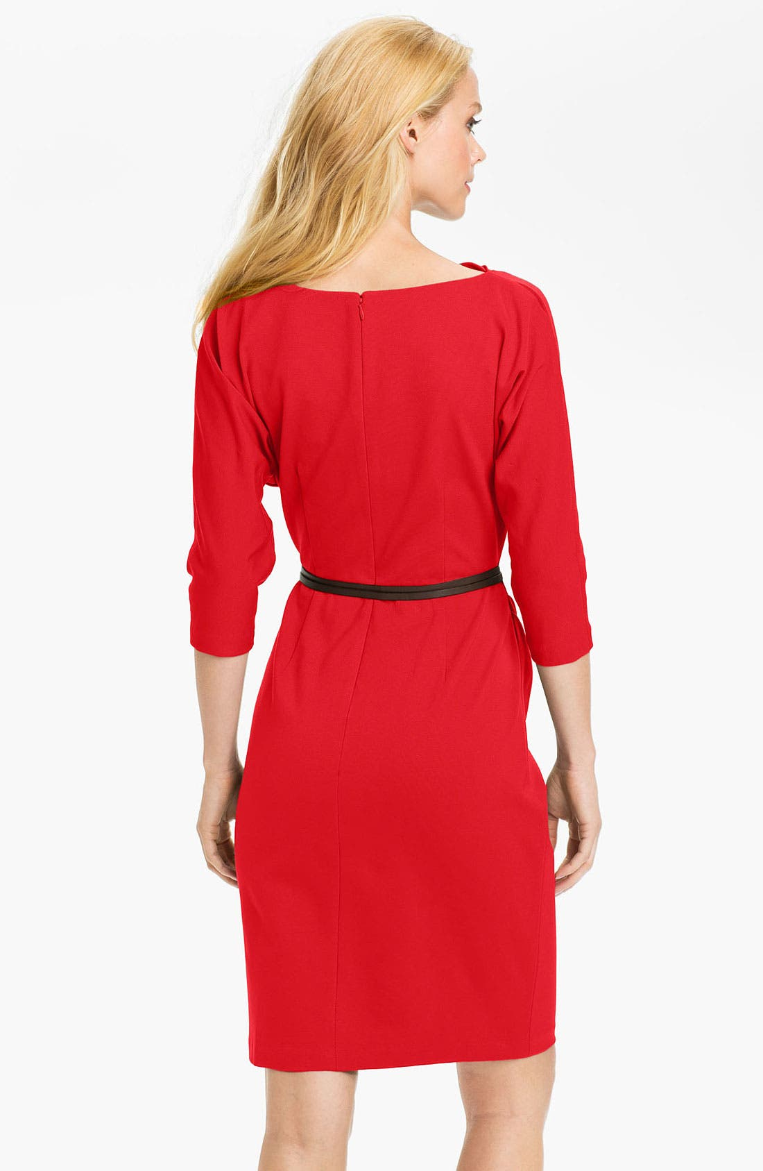 Alternate Image 2  - Suzi Chin for Maggy Boutique Belted Dolman Sleeve Sheath Dress