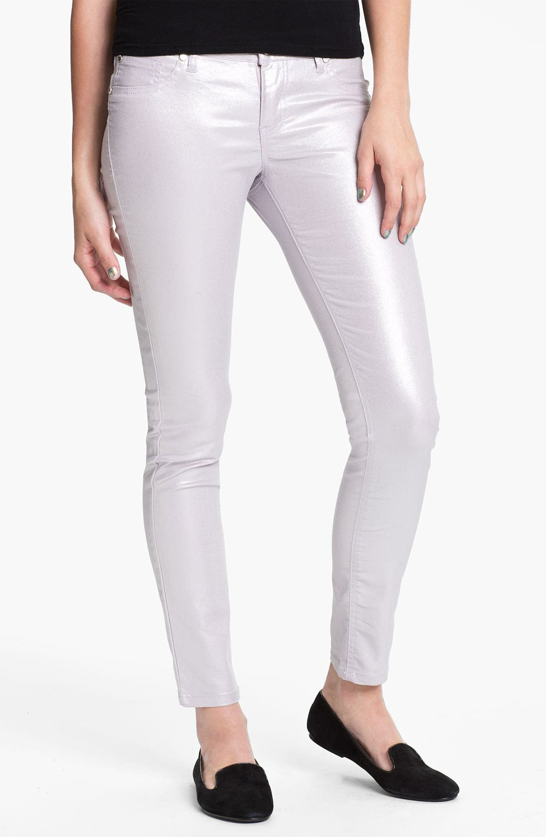 Alternate Image 2  - Fire Pearl Coated Skinny Jeans (Juniors)