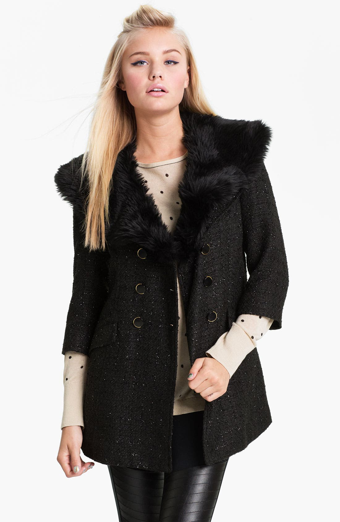 Main Image - Tulle Faux Fur Collar Metallic Bouclé Coat (Juniors)