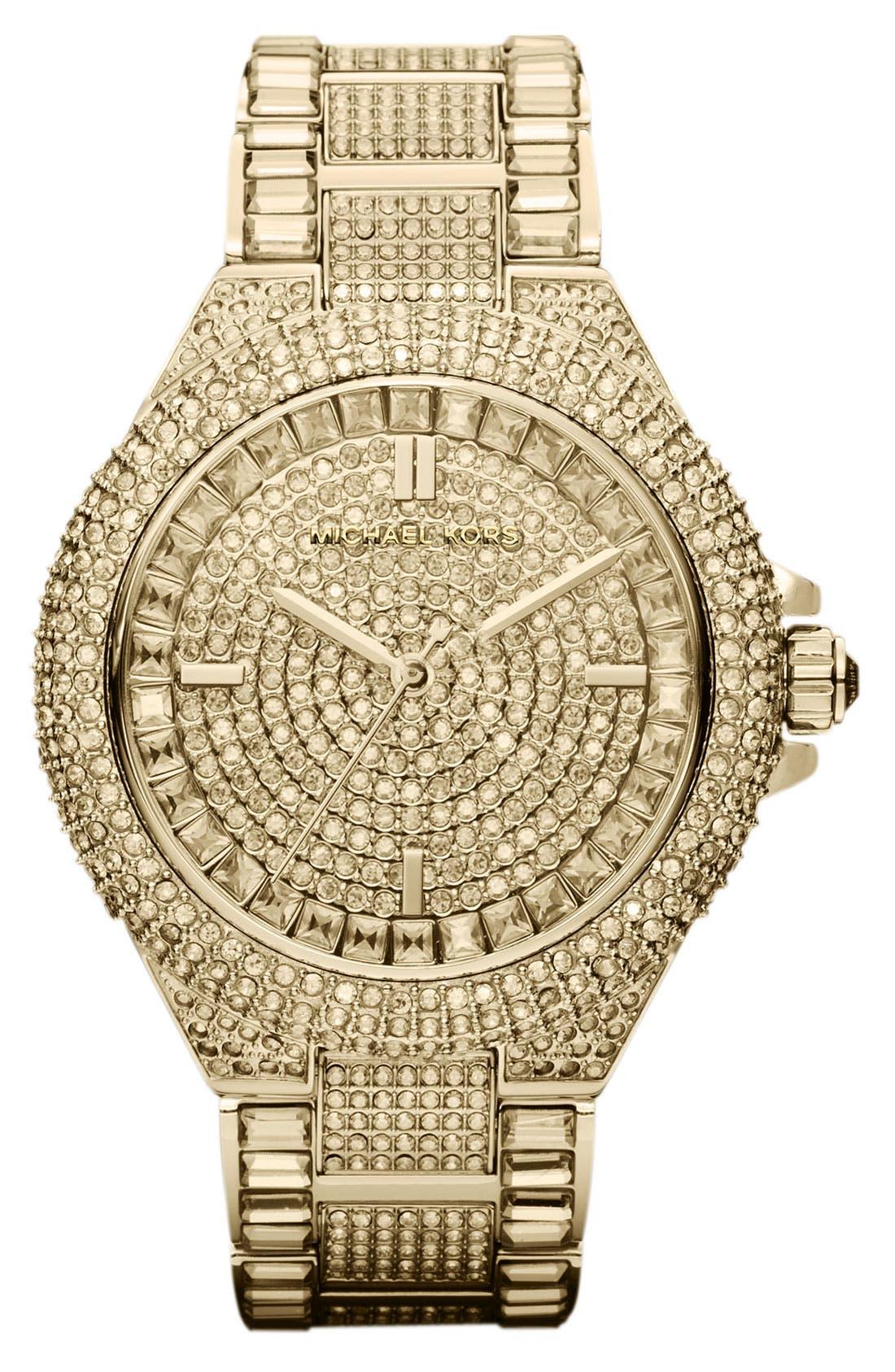 Main Image - Michael Kors 'Camille' Crystal Encrusted Bracelet Watch, 44mm
