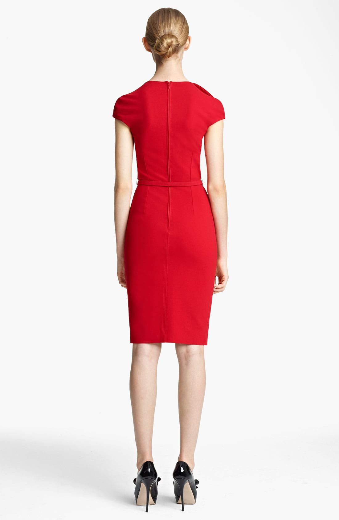Alternate Image 2  - Valentino Compact Jersey Sheath Dress with Bow Belt