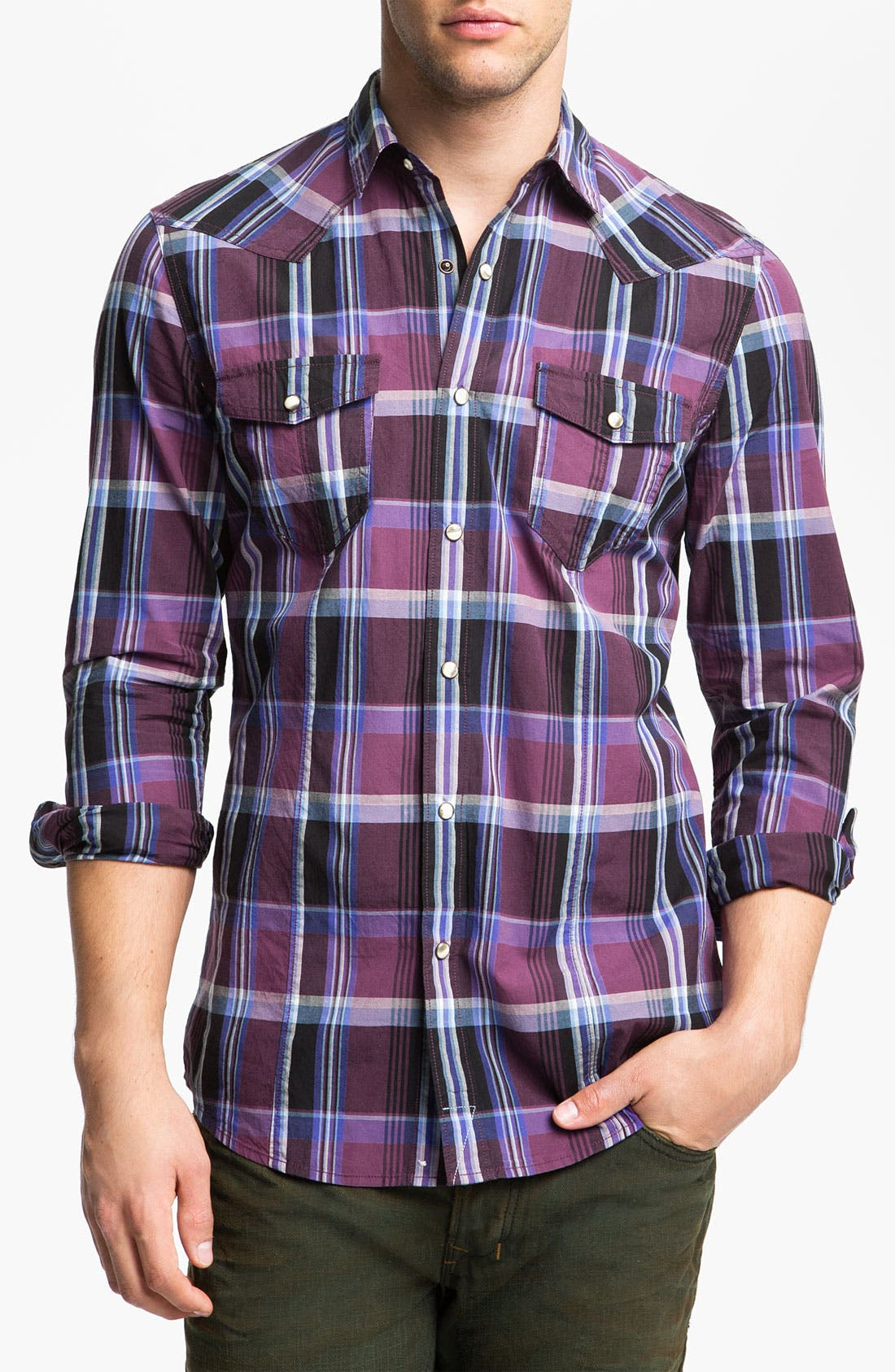 Alternate Image 1 Selected - Public Opinion Plaid Poplin Western Shirt