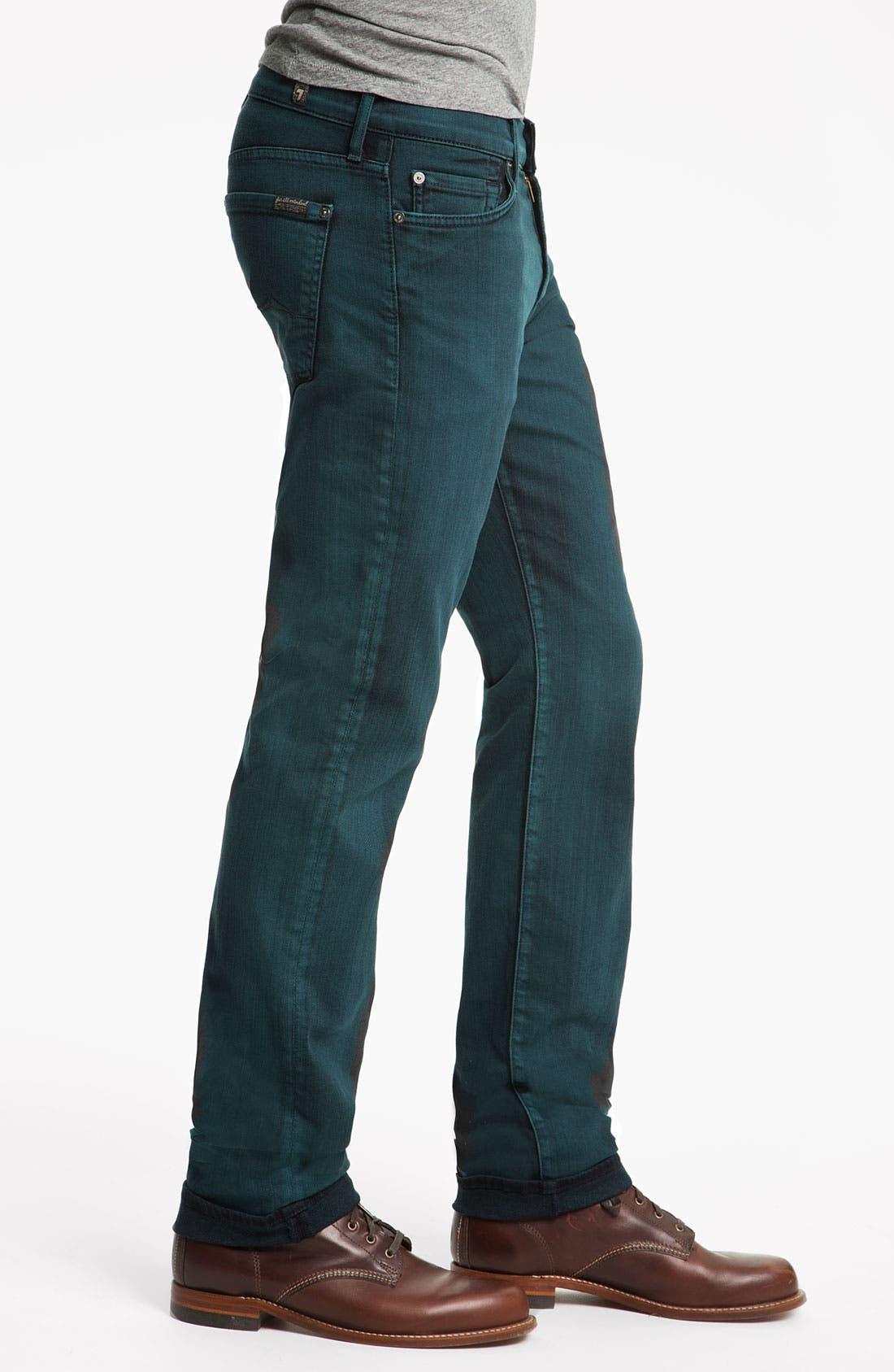 Alternate Image 3  - 7 For All Mankind® 'Slimmy' Slim Straight Leg Jeans (Dark Ivy)
