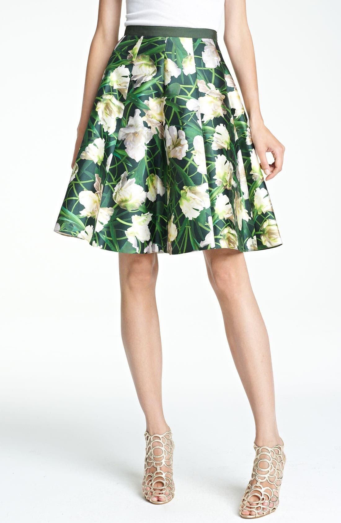 Alternate Image 1 Selected - Oscar de la Renta Floral Print Swing Skirt