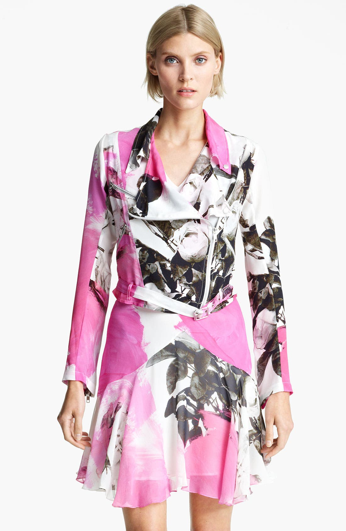 Alternate Image 1 Selected - Christopher Kane Rose Print Biker Jacket