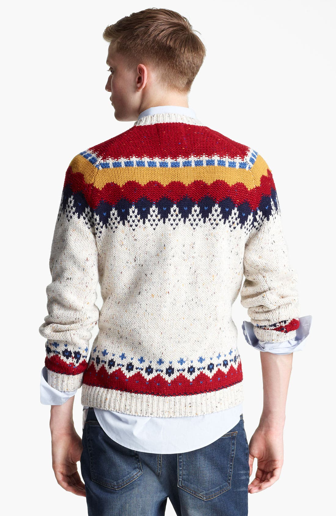 Alternate Image 2  - Topman Yoke Pattern Crewneck Sweater