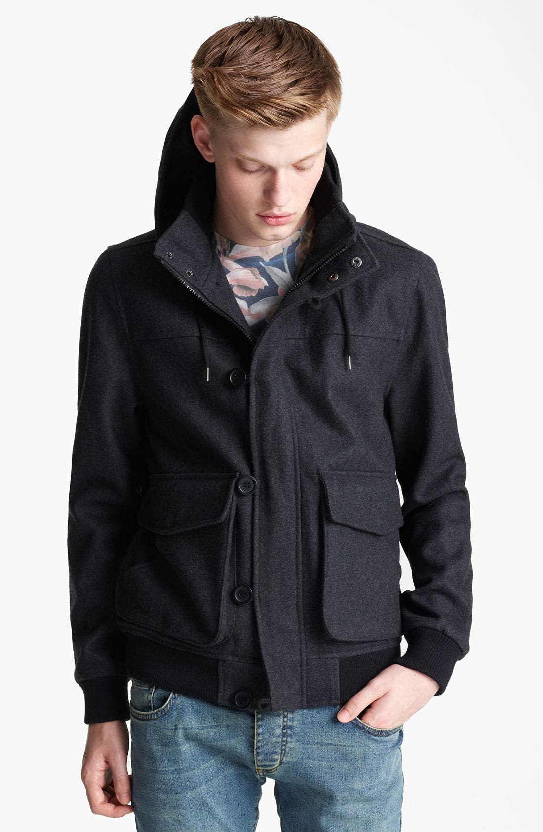 Main Image - Topman Hooded Wool Blend Bomber Jacket